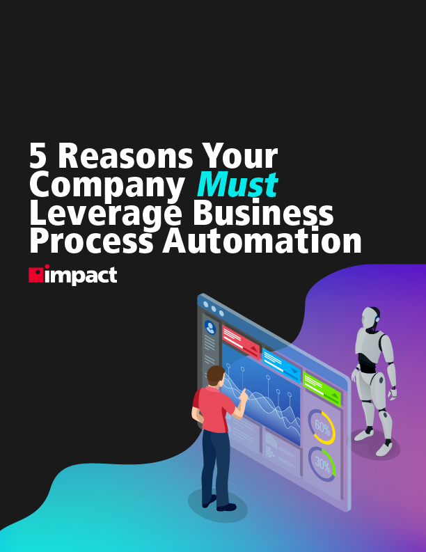 illustration with human look at screen and robot on the other side and text reading title of business process automation ebook title