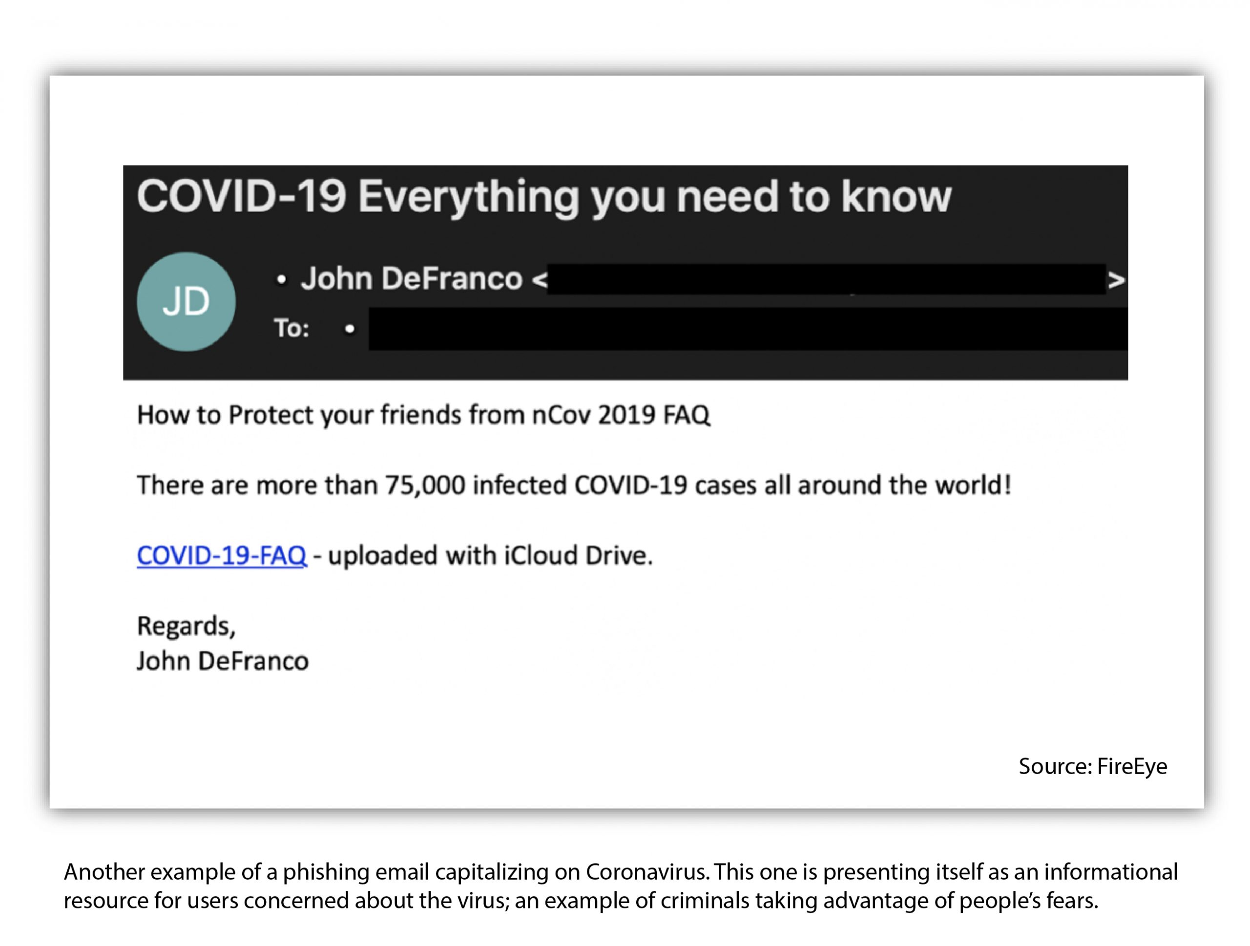 example of a phishing attack about coronavirus cybersecurity