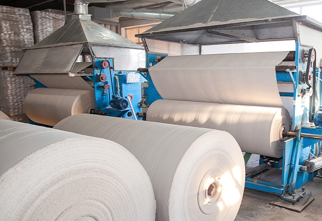 Rolls of paper at a paper mill