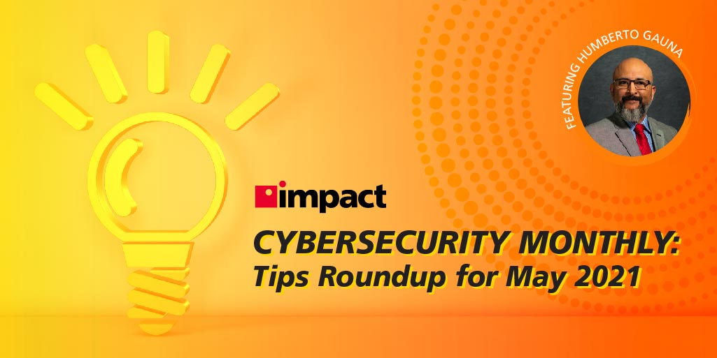 Vector image of lightbulb on orange background | Cybersecurity Monthly: Tips Roundup for May 2021