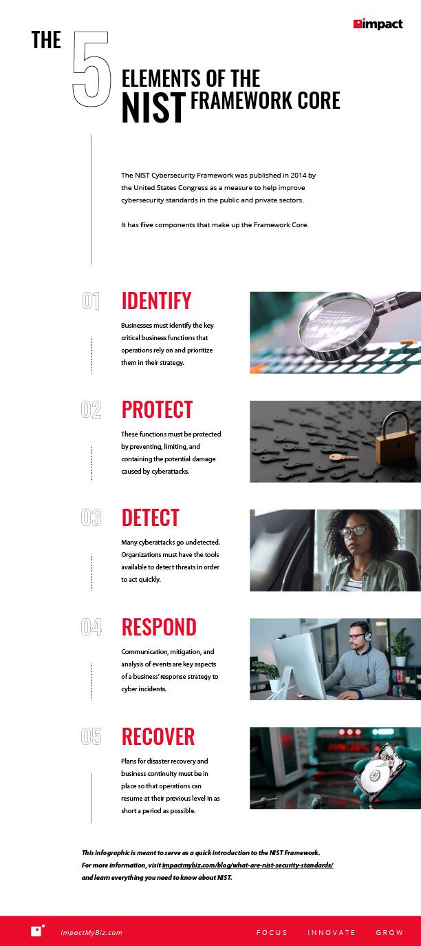 The 5 Elements of the NIST Framework Core infographic